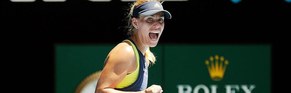 Die besten Online Sportwetten Close-up Tennisspielerin Kerber auf dem Platz Jubelschrei