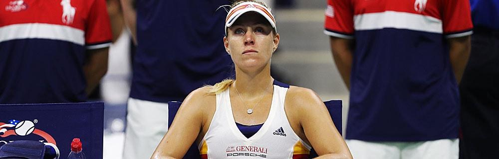 Die besten Online Sportwetten Close-up Tennisspielerin Kerber auf dem Platz sitzt Pause
