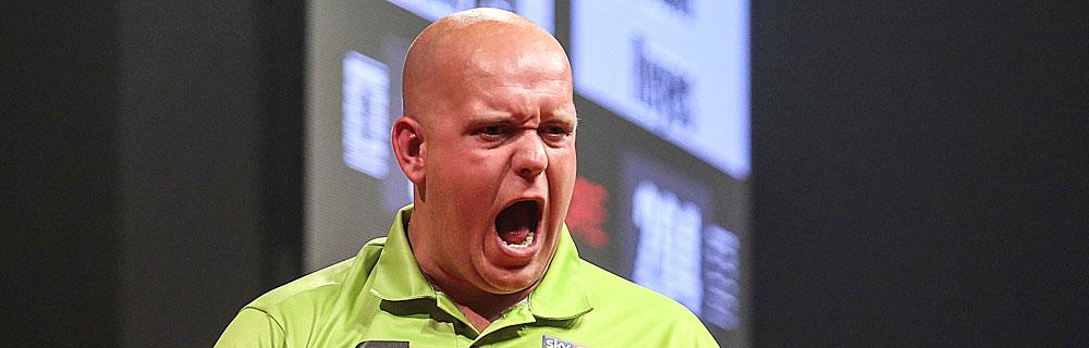 Die besten Online Sportwetten Darts Close-up Gesicht schreiender Dartspieler