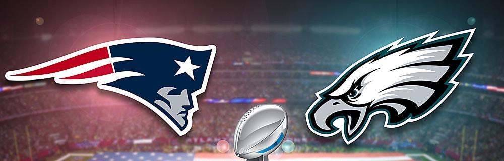 Die besten Online Sportwetten american football super bowl im Hintergrund Blick auf Spielfeld Amerika Flagge on top 2 Logos