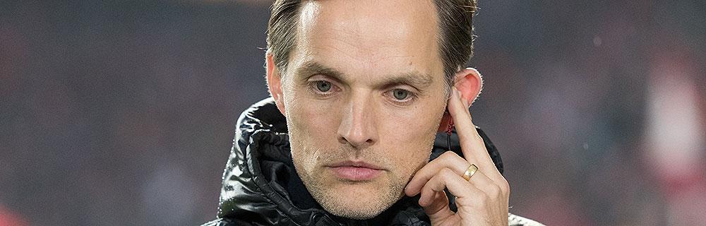 Die besten Online Sportwetten Close-up Gesicht Fussballtrainer Tuchel am Spielfeldrand