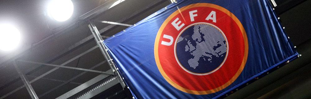 Die besten Online Sportwetten Fussball Close-up Banner UEFA blau rot orange