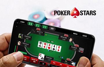 Die besten Online Casino Spiele Poker Stars mobil samrtphone in Händen screen Pokertisch Pokerkarten Blatt
