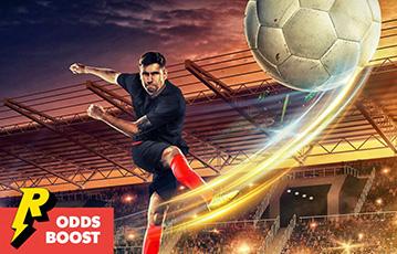 Die besten Online Sportwetten bei rizk Illustration Fussballer schießt Ball Boost Stadion