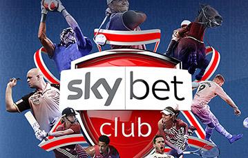 Die besten Online Sportwetten bei skybet skybet club Anordnung von Sportler am Logo