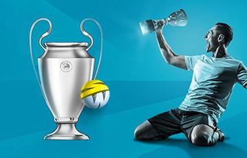 Die besten Online Sportwetten Illustration silberner Pokal Fussball Spieler auf Knien mit Pokal in der Hand
