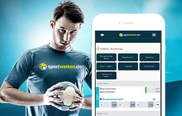 Die besten Online Sportwetten mobil smartphone screen sportwetten.de Fusballer mit Fussball in den Händen
