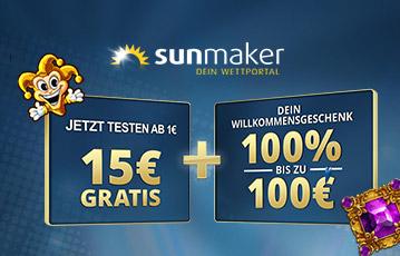Die besten Online Casino Spiele bei sunmaker call to action 15 Euro testen gratis Willkommensgeschenk 100 Euro Illustration Joker