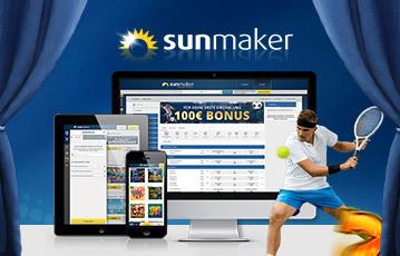 Die besten Online Sportwetten sunmaker Illustration Bühne smartphone tablet desktop screen sunmaker Tennisspieler