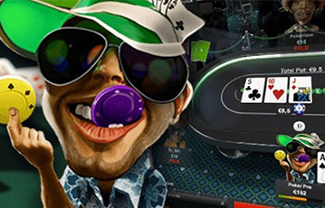 Die besten Online Casinos bei unibet Poker Illustration Karrikatur Pokerspieler Sonnencap Pokerchips Pokertisch