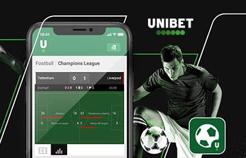 Die besten Online Sportwetten bei unibet smartphone screen football Fussballer am Ball