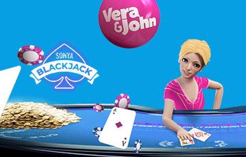 Die besten Online Casinos Vera und John Blackjack Illustration 3D Frau am Pokertisch Pokerchips und Pokerkarten Münzen
