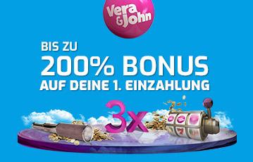 Die besten Online Casinos Vera und John Blackjack Illustration 3D Walze Münzen call to action 200 Prozent Bonus
