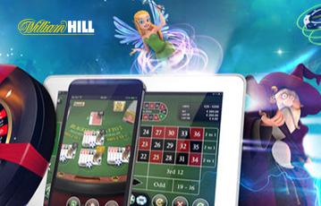 Die besten Online Casinos Spiele bei William Hill smartphone tablet screen Pokertisch Illustration Spielefiguren