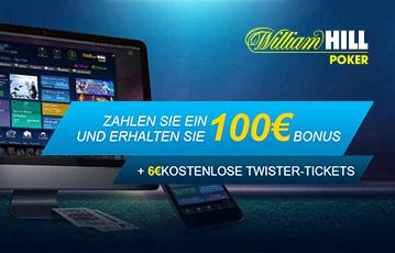 Die besten Online Casinos Spiele bei William Hill Poker call to action 100 Euro Bonus Desktop screen Spieleauswahl