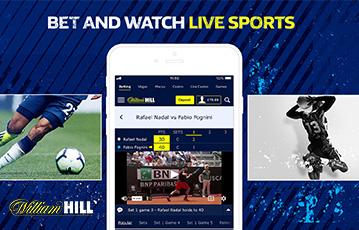 Die besten Online Sportwetten bei William Hill live bet and watch smartphone screen live Tennisspiel Fussballspieler Handballspieler