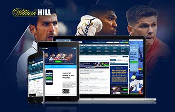 Die besten Online Sportwetten bei William Hill zwei smartphone tablet laptop screen im Hintergrund drei Sportler