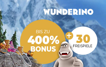 Wunderino Bonus Die besten Online Casinos bei wunderino call to action 400 Prozent Bonus Illustration 3D Spielefigur Monster ein Auge Gebirge Schmuck Tannen