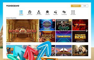 Die besten Online Casinos bei wunderino screenshot webseite Spieleauswahl