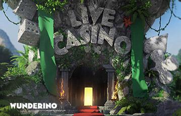Die besten Online Casinos bei wunderino Illustration 3D Eingang Höhle Steinskulptur Würfel Kasrtensymbole Schriftzug Live Casino