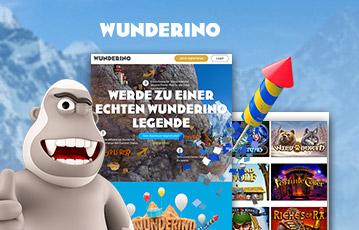 Die besten Online Casinos bei wunderino call to action 400 Prozent Bonus Illustration 3D Spielefigur Monster screenshots App Spieleauswahl