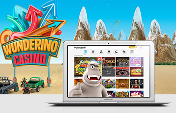 Die besten Online Casinos bei wunderino 3D Spielelandschaft Leuchtreklame Jeeps Gebirge und Laptop screen Spieleauswahl