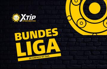 Die besten Online Sportwetten bei xtip Banner Bundesliga So einfach ist das Illustration gelb Trophäe rund