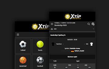 Die besten Online Sportwetten bei xtip smartphone screen Übersicht Sportarten Bundesliga Tabelle