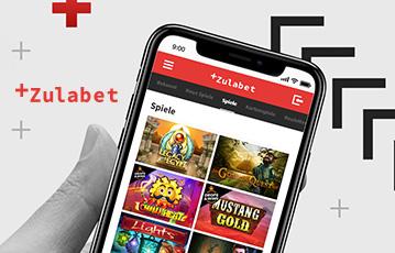 Die besten Online Casino Spiele bei zulabet mobil App smartphone in Hand screen zulabet Spieleauswahl