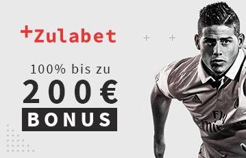 Die besten Online Sportwetten bei zulabet Close-up Fussballspieler call to action 200 Euro Bonus
