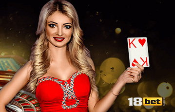 Die besten Online Casinos bei 18bet live Frau lange blonde Haare rotes Kleid Spielkarte in der Hand