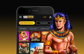 Die besten Online Casinos bei 18bet smartphone screen 18bet Spieleauswahl Illustration 3D Spielefigur