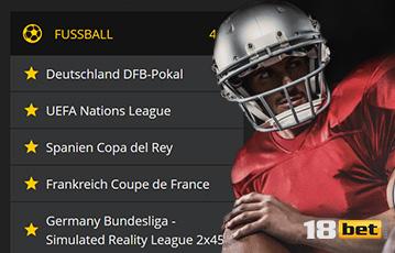 Die besten Sportwetten bei 18bet Fussball Auswahl Spiele close up american football Spieler