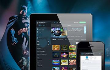 Die besten Online Casinos bei betvictor mobil App smartphone tablet screen Spieleübersicht Batman