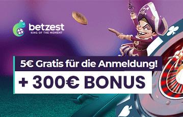 Die besten Online Casinos bei betzest 5 Euro gratis plus 300 Euro Bonus Illustration Spielefigur Pirat Roulette