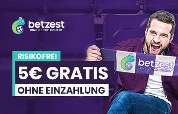 Die besten Online Sportwetten bei betzest call to action 5 Euro gratis MAnn sitzt auf Zuschauertribüne betzest Fanschal