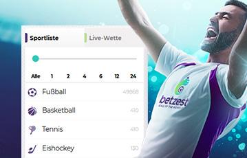 Die besten Online Sportwetten bei betzest mobil smartphone betzest screen Übersicht 3D Fussballspieler
