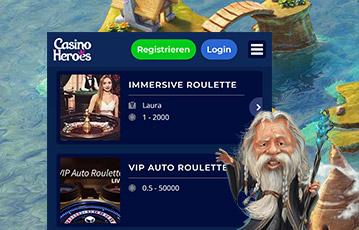Die besten Online Casino Spiele bei casino heroes screen Spiele Auswahl Spiele-Charakter weiser alter Mann