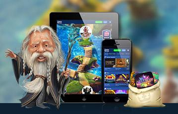 Die besten Online Casino Spiele bei casino heroes tablet smartphone screen Spiele Auswahl Spiele-Charakter weiser alter Mann