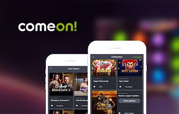 Die besten Online Casino Spiele bei come on mobile App zwei smartphone screens webseite Spiele Übersicht come on