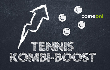 Die besten Online Sportwetten bei come on call to action Tennis Kombi-Boost Illustration Tennisbälle Pfeil nach oben