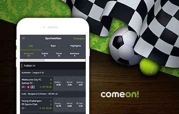 Die besten Online Sportwetten bei come on mobil smartphone screen come on Illustration Fussball Tennisball Flagge Start Ziel