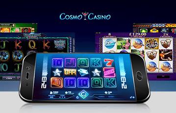 Die besten Online Casino Spiele bei Cosmo Casino mobile App smartphone screens Automatenspiele Walze
