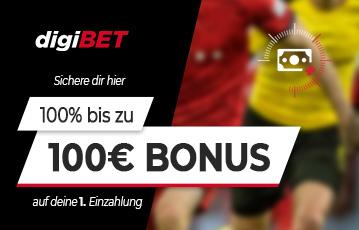Die besten Online Sportwetten bei digibet call to action 100 Euro Bonus zwei Fussballspieler close up blurry