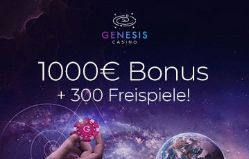 Die besten Online Casinos bei genesis casino call to action 1000 Euro Bonus und 300 Freispiele Hand hält Pokerchip Universum