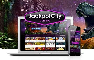 Die besten Online Casinos bei jackpotcity mobil App laptop smartphone Illustration Dinosaurier Pflanzen