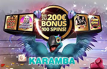 Die besten Online Casinos bei karamba call to action bis zu 200 Euro Bonus Illustration Papagei Boxhandschuhe