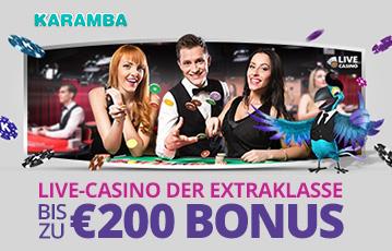 Die besten Online Casinos bei karamba call to action bis zu 200 Euro Bonus live Casino Groupier zwischen zwei Spielerinnen am Pokertisch Illustration Papagei