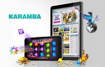 Die besten Online Casinos bei karamba mobil App smartphone tablet Spiele Auswahl starburst Illustration Spiele-Charaktere