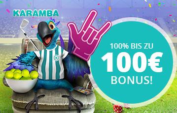 Die besten Online Sportwetten bei karamba call to action bis zu 100 Euro Bonus Illustration Papagei im Fanshirt sitzt auf Sessel auf Fussballfeld